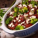 Ribbon pasta Casserole with chorizo and vegetables Royalty Free Stock Image