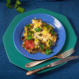 Ribbon pasta Casserole with chorizo and vegetables Stock Images