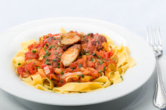 Ribbon pasta with chicken and tomato leek sauce Royalty Free Stock Photos