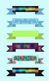 Ribbon with pattern. Set of colored ribbons with a pattern for a website Royalty Free Stock Photos