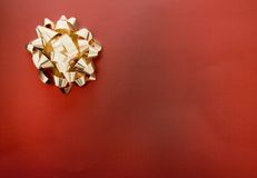 Ribbon on red gift Stock Images