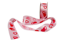 Ribbon with red hearts Stock Photo