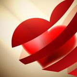 Ribbon red hearts with light. + EPS10 Stock Photos