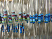 Ribbon of resistors royalty free stock photos