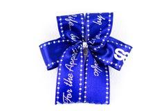 Ribbon. S blue Gift Box Christmas New year Royalty Free Stock Photo