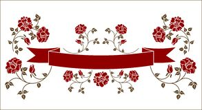 Ribbon with roses Stock Images