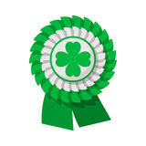 Ribbon rosette with four leaf clover cartoon icon. On a white background Royalty Free Stock Photo