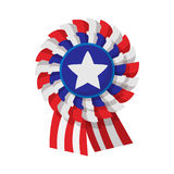 Ribbon rosette in the USA flag colors cartoon icon Stock Photos