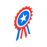 Ribbon rosette in the USA flag colors icon. Ribbon rosette in the USA flag colors isometric 3d icon on a white background Royalty Free Stock Photos