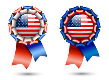 Ribbon rosettes with american flags Stock Images