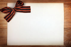 Ribbon of Saint George on Paper Royalty Free Stock Photography