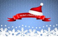 Ribbon with Santa caps on background Christmas Stock Images