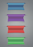Ribbon set blue purple red green Stock Photos