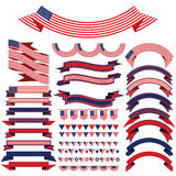 Ribbon set . Bunting pennants for Independence Day. Royalty Free Stock Image