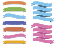 Ribbon set 2. Differently color ribbon collection with white line border and shadow for your text Stock Photo