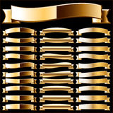 Ribbon set of pure gold. An additional  AI file contains a graphic styles. That means that you can type any text or draw any image the same as looks on the Royalty Free Stock Photo