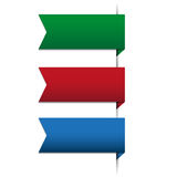 Ribbon set - red, green, blue Stock Photo
