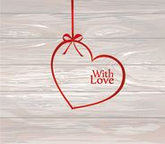 A ribbon in the shape of a heart. Red bow. Greeting card or invi. Tation for a holiday. St. Valentine`s Day. Love. Empty place for text or advertising. Vector on Royalty Free Stock Photography