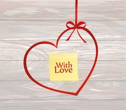 A ribbon in the shape of a heart. Yellow sheet of paper for note. S. Sticker. I love you. Red bow. Greeting card or invitation for a holiday. St. Valentine`s Day Stock Image
