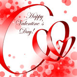 Ribbon in shape hearts. Valentine card Stock Photos
