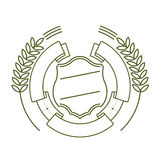 Ribbon, shield and ears. In a linear style Stock Photos