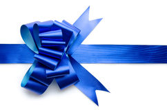 Ribbon and shiny blue bow Royalty Free Stock Photo