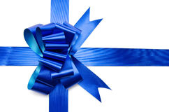 Ribbon and shiny blue bow Stock Photos