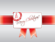 Ribbon with stamped Christmas card Royalty Free Stock Photography