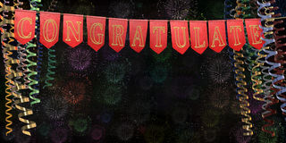 Ribbon streamers and red flags with word. `congratulate` on a gold rope on the background of the night sky and fireworks. 3D illustration Stock Image
