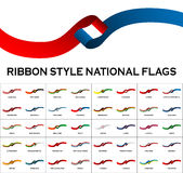 Ribbon style national flags 40 in 1  on white Stock Images