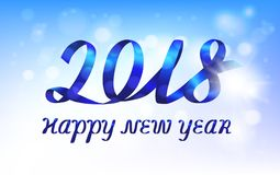 Ribbon text Happy New Year 2018 against blue sunny sky. Blue ribbon number 2018 and inscription Happy new year on blue sunny background. Vector illustration royalty free illustration