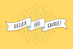 Ribbon with text Relax and Smile Royalty Free Stock Photography