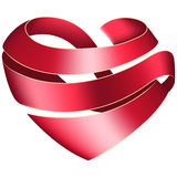 Ribbon twisted in the shape of heart Stock Photos