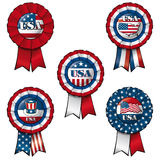 Ribbon USA. Set of 5 interchangable Ribbons and Buttons on USA subject Royalty Free Stock Photos