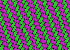 Ribbon Weave. Detailed texture of ribbon weave in green and magenta colors Royalty Free Stock Images