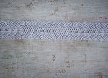 Ribbon white lace  top view Royalty Free Stock Images