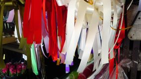 Ribbon in the wind. Colorful ribbon stock video footage