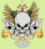 Ribbon wing skull Royalty Free Stock Photography