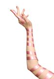Ribbon on woman hand royalty free stock photography