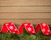 Ribbon on wooden background Royalty Free Stock Images