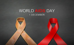 Ribbon world AIDS day. Red ribbon and ribbon made from brown leather in AIDS day concept royalty free stock image