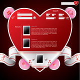 Ribbon wrapped heart shape website template Royalty Free Stock Photos
