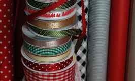 Ribbon and Wrapping paper Stock Photo