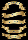 Ribbons. Golden ribbons with blue color dots in black background eps Royalty Free Stock Images