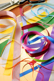 Ribbons. Group of multicolor ribbons with scissors Stock Photos