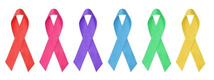 Ribbons. Collection of awareness ribbons colors Royalty Free Stock Photos