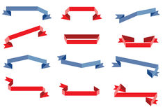 Ribbons. Different red paper ribbons and banners Stock Photography