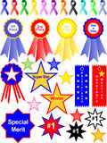 Ribbons. Colorful illustration of different ribbons and awards Royalty Free Stock Images