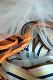 Ribbons. Colorful ribbons tossed on a table top Stock Photo