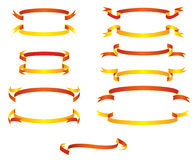 Ribbons. Set of brightly red and yellow ribbons Royalty Free Stock Images